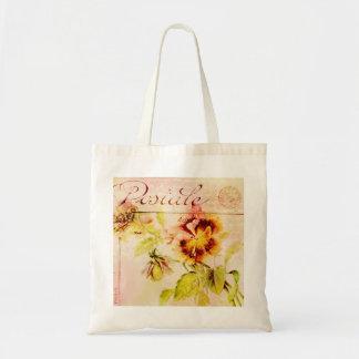 Vintage pansy flower feminine girls tote bag