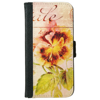 Vintage pansy flower feminine girls iPhone 6 wallet case
