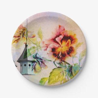 Vintage pansy flower feminine 7 inch paper plate