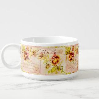 Vintage pansy flower feminine chili bowl