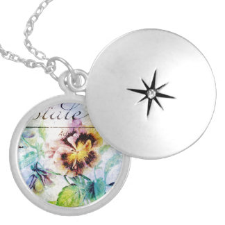Vintage pansy flower for women necklace