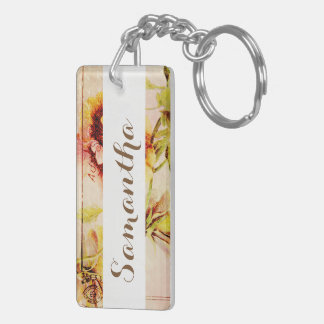 Vintage pansy flower PERSONALIZE name Double-Sided Rectangular Acrylic Keychain
