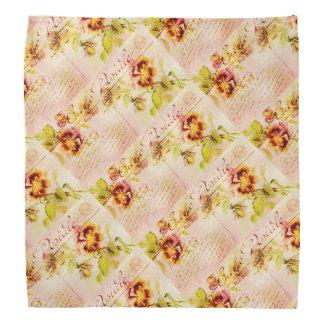 Vintage pansy flower postcard bandana