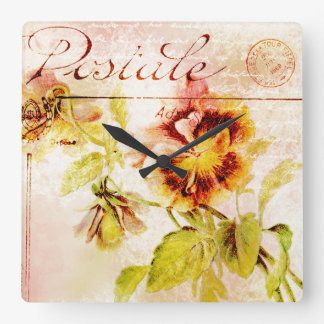 Vintage pansy flower postcard square wallclocks
