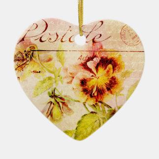 Vintage pansy flower postcard ornament