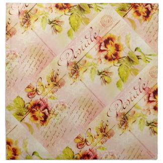 Vintage pansy flower postcard feminine cloth napkins