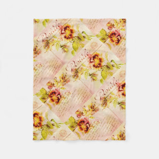 Vintage pansy flower postcard feminine fleece blanket