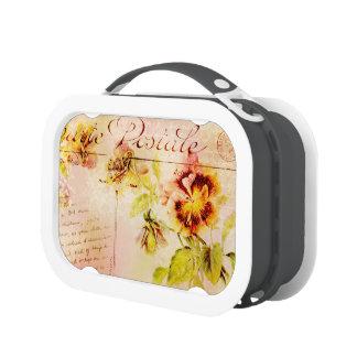 Vintage pansy flower postcard feminine lunchbox