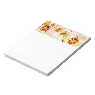 Vintage pansy flower postcard feminine notepad