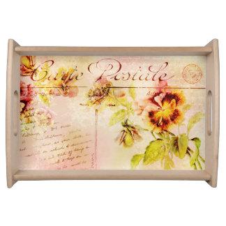 Vintage pansy flower postcard feminine food trays