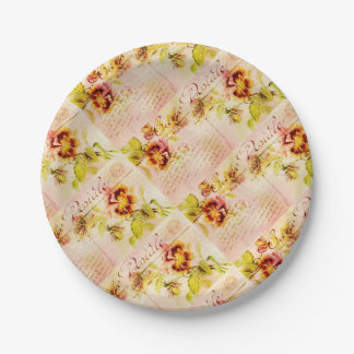 Vintage pansy flower postcard feminine 7 inch paper plate