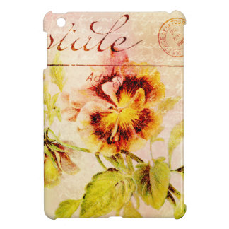 Vintage pansy flower postcard cover for the iPad mini