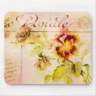 Vintage pansy flower postcard mouse pad