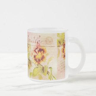 Vintage pansy flower postcard mugs