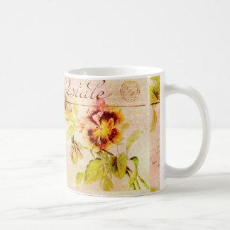Vintage pansy flower postcard mug