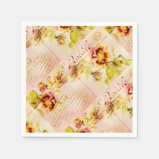 Vintage pansy flower postcard disposable napkins