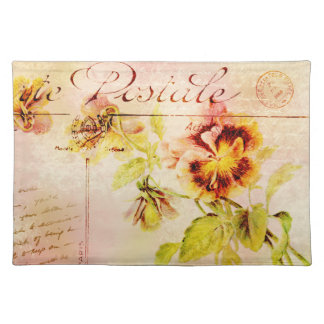 Vintage pansy flower postcard cloth placemat