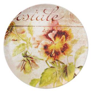 Vintage pansy flower postcard dinner plate