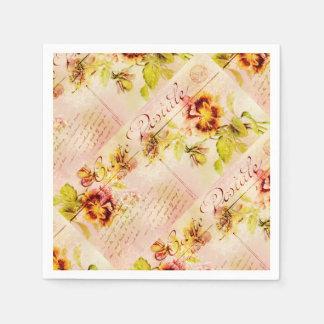 Vintage pansy flower postcard disposable napkins