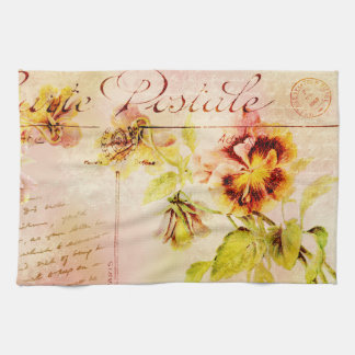 Vintage pansy flower postcard towels
