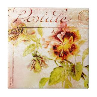 Vintage pansy flower postcard tile