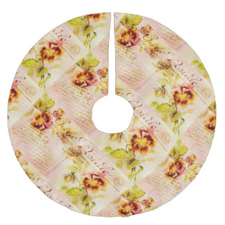 Vintage pansy flower postcard brushed polyester tree skirt