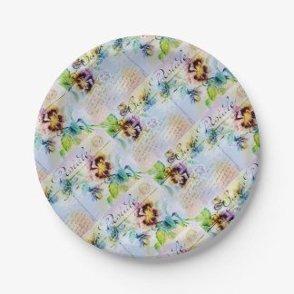 Vintage pansy postcard flower 7 inch paper plate