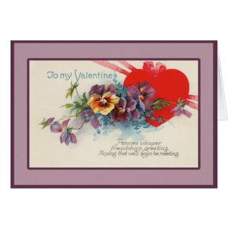 Vintage Pansy Valentine Greeting Card