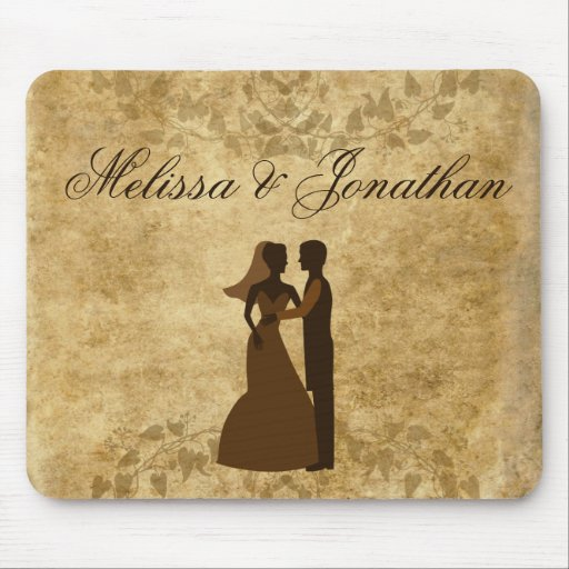 Vintage paper Bride Groom Wedding Once upon a time Mouse Pads
