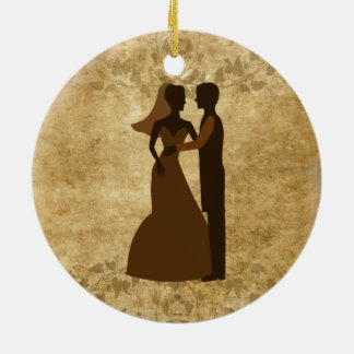 Vintage paper Bride Groom Wedding Once upon a time Round Ceramic Decoration