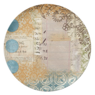 vintage paper collage stamped blue dots plates