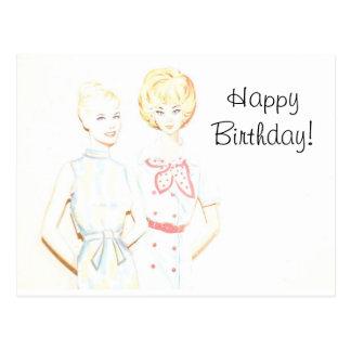 Vintage Paper Doll Birthday Post Card