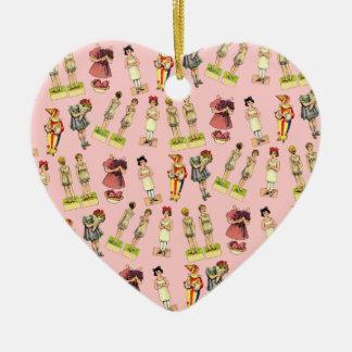 Vintage Paper Dolls Ceramic Heart Decoration