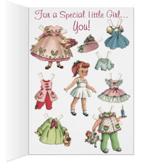 Vintage Paper Dolls Merry Christmas Card