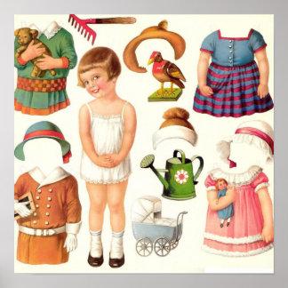 Vintage Paper Dolls Print