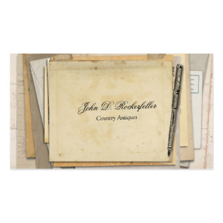 Vintage Paper Ephemera Antique Fountain Pen Business Card Template