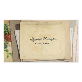 Vintage Paper Ephemera Stacked Antique Look Business Card Template