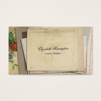 Vintage Paper Ephemera Stacked Antique Style Business Card