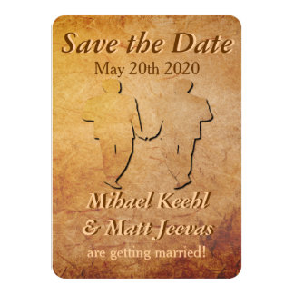 Vintage Paper Gay Wedding Save the Date Card 11 Cm X 16 Cm Invitation Card