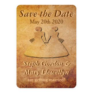 Vintage Paper Lesbian Wedding Save the Date Card 11 Cm X 16 Cm Invitation Card