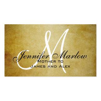 Vintage Paper Monogram Mommy Calling Card Pack Of Standard Business Cards