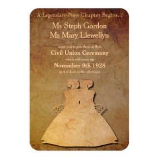 "Vintage Paper Overlay Lesbian Wedding Invitation 3.5"" X 5"" Invitation Card"