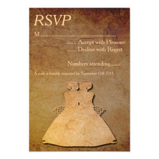 Vintage Paper Overlay Lesbian Wedding RSVP Invitations