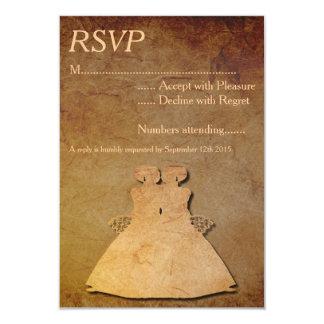 "Vintage Paper Overlay Lesbian Wedding RSVP 3.5"" X 5"" Invitation Card"