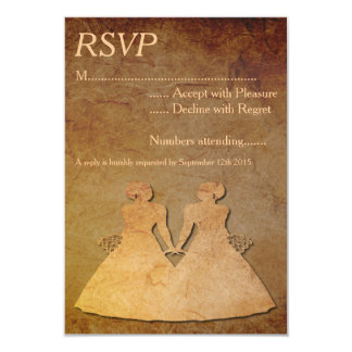 Vintage Paper Overlay Lesbian Wedding RSVP Personalized Invite