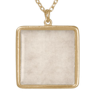 Vintage Paper Parchment Paper Template Blank Gold Plated Necklace
