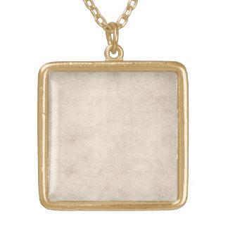 Vintage Paper Parchment Paper Template Blank Square Pendant Necklace