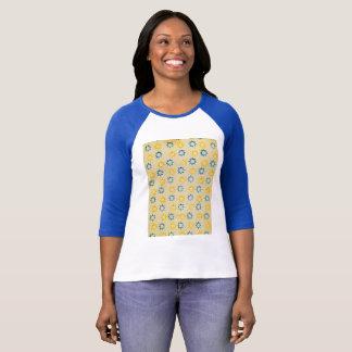 Vintage Paper Pattern Blue & yellow sun stencil T-Shirt