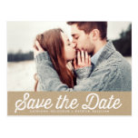 VINTAGE PAPER RUSTIC PHOTO SAVE THE DATE POSTCARD