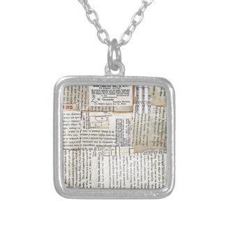 Vintage Paper Scraps - Horizontal Square Pendant Necklace